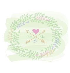 Greeting card with wreath vector