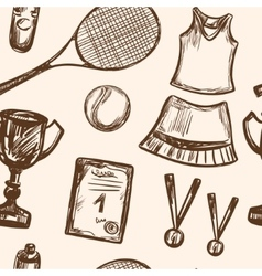 Hand drawn tennis game seamless pattern vector