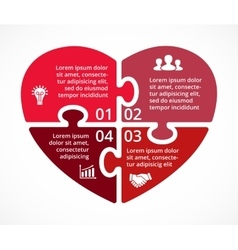 Heart circle puzzle infographic template vector