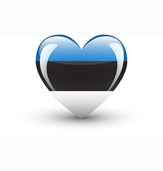 Heart-shaped icon with national flag of Estonia vector image vector image
