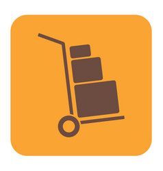 Luggage trolley flat icon vector