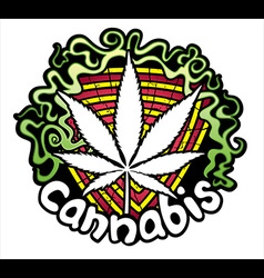 Marijuana cannabis leaf symbol design stamp vector image vector image