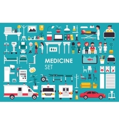 Medical Big Collection in flat design background vector image