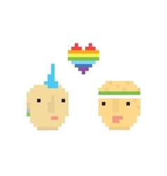 Pixel art style two homosexual boys vector image vector image