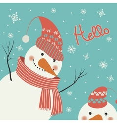 Snowman says hello vector image
