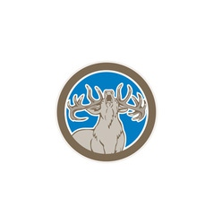 Stag deer roaring circle retro vector
