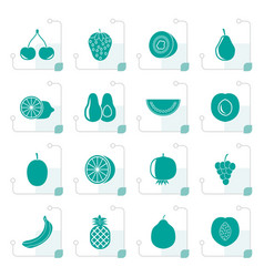 Stylized different kind of fruit and icons vector