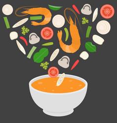 thai cuisine tom-yam-kung spicy thai shrimp soup vector image