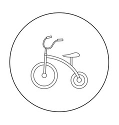 Tricycle icon in outline style isolated on white vector