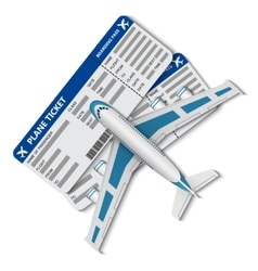 Flight tickets with airplane vector