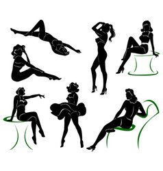 silhouette of pin up girls vector image