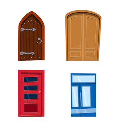 Color door front to house and building flat design vector