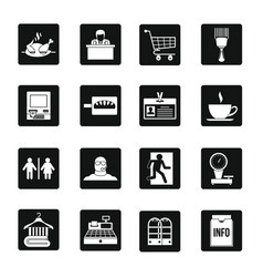 Supermarket navigation icons set simple style vector
