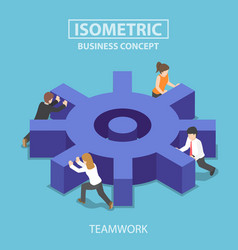 Isometric business team pushing a big cogwheel vector