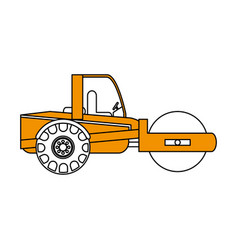 road roller construction heavy machinery icon vector image