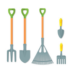 Set of working tools for gardening vector
