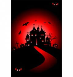 Halloween house on hill vector