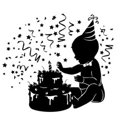 silhouette baby with birthday cake with candle vector image