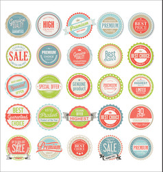 Retro colorful badges and labels collection vector