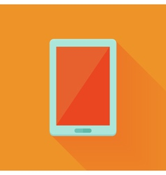 Flat tablet pc icon over orange vector