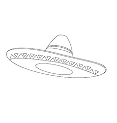 Mexican hat outline drawings vector
