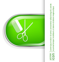 Comb scissors barbershop symbol of hair and beauty vector