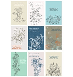 Vintage floral cards set vector