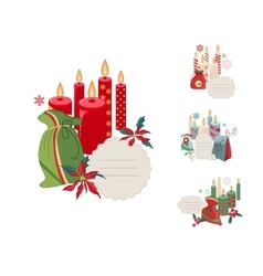Set of christmas frames with candles and vector