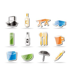 Simple picnic and holiday icons vector
