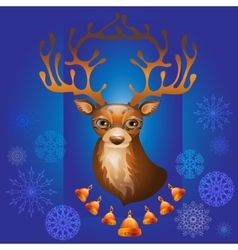 Christmas deer with bells vector
