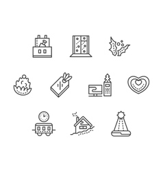 New year at work black line icons set vector