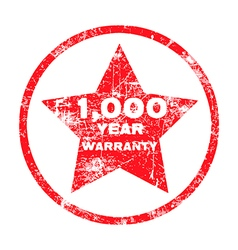 One thousand year warranty red grungy stamp vector