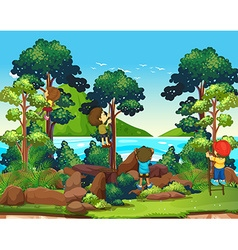 Children climbing up the tree vector