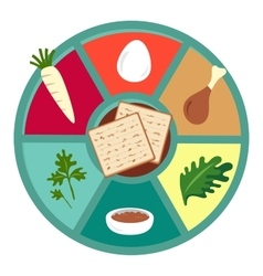 Passover seder flat icons vector