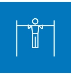 Gymnast exercising on bar line icon vector