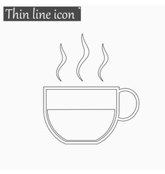 Coffee cup icon style thin line vector