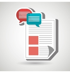 Speech bubbles with document isolated icon design vector