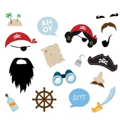 A colorful theme of pirate equipments vector