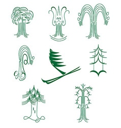 A set of abstract graphical symbols of green trees vector
