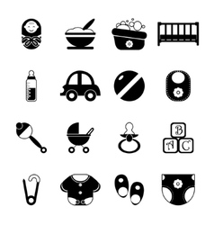 Baby Childhood Isolated Silhouette Icons Symbols vector image vector image