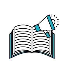 book with megaphone flat icon vector image