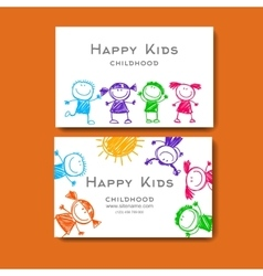business card with a picture of children vector image