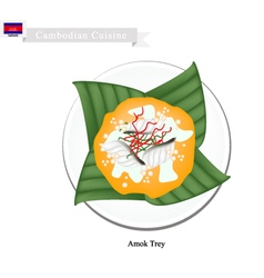 Cambodian steamed curried fish vector