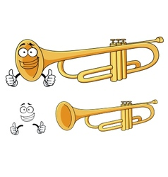Cartoon happy classic brass trumpet character vector image vector image