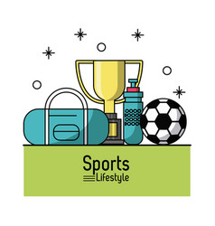 colorful poster of sports lifestyle with soccer vector image