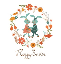Easter card with cute rabbits vector image vector image
