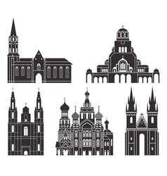 Eastern europe isolated european buildings vector