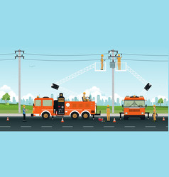 Electric pole repair vector
