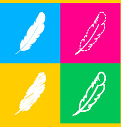 Feather sign four styles of icon on vector