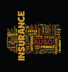 Finance career auto insurance quote text vector